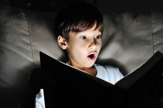 Boy reading suspense
