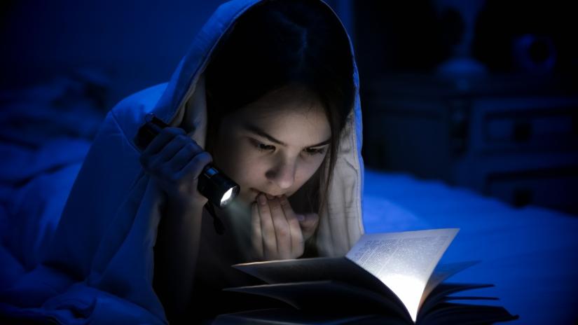 Girl scared reading